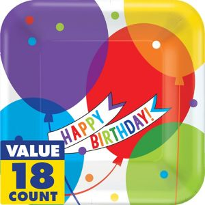 Balloon Bash Birthday Lunch Plates 18ct