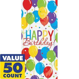 Rainbow Balloon Bash Birthday Treat Bags 50ct
