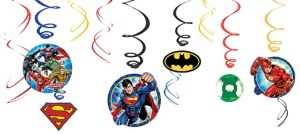 Justice League Swirl Decorations 12ct