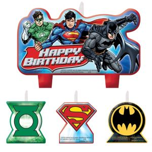 Justice League Birthday Candles 4ct