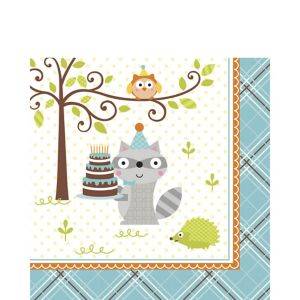 Boy Birthday Lunch Napkins 16ct - Happi Woodland