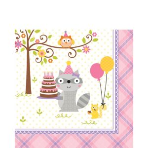 Girl Birthday Lunch Napkins 16ct - Happi Woodland