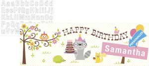 Girl Birthday Giant Personalized Banner - Happi Woodland