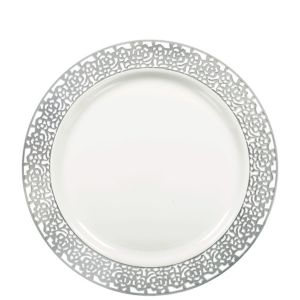 White Silver Lace Border Premium Plastic Lunch Plates 20ct