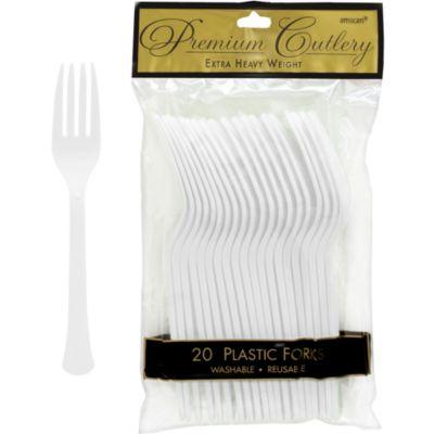 White Premium Plastic Forks 20ct