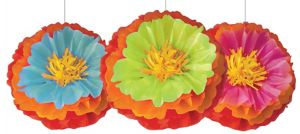 Fiesta Flower Fluffy Decorations 3ct