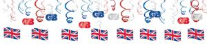 Union Jack Swirl Decorations 30ct - Great Britain
