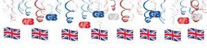 Union Jack Swirl Decorations 30ct - Great Britain
