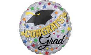 Prismatic Graduation Balloon with Banner - Giant