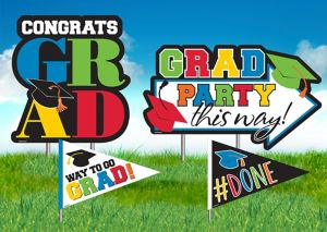 Multicolor Graduation Yard Stakes 4ct