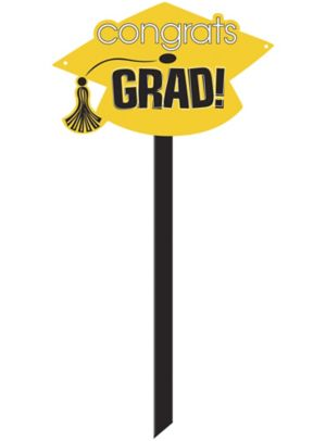 Yellow Graduation Yard Sign - Congrats Grad