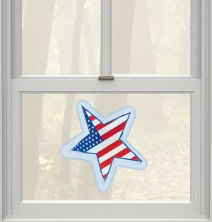 Light-Up LED American Flag Star Gel Cling Decal