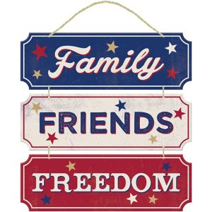 Family Friends Freedom Stacked Sign - Rustic Americana