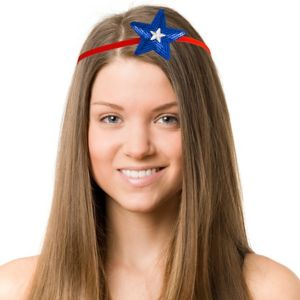Sequin Patriotic Star Elastic Headband