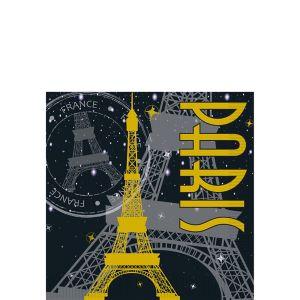 Gold Eiffel Tower Paris Beverage Napkins 16ct