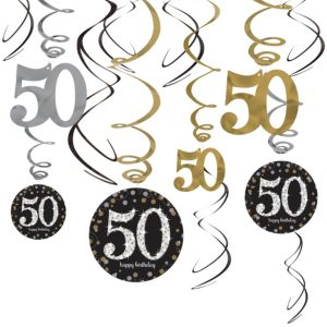 50th Birthday Swirl Decorations 12ct - Sparkling Celebration