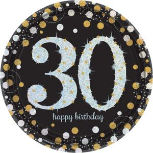Prismatic 30th Birthday Lunch Plates 8ct - Sparkling Celebration