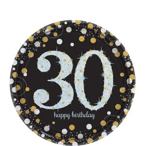 Prismatic 30th Birthday Dessert Plates 8ct - Sparkling Celebration
