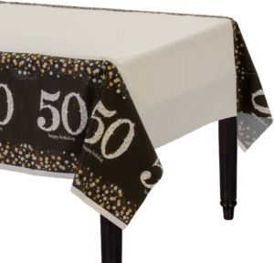 50th Birthday Table Cover - Sparkling Celebration