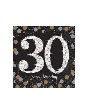 30th Birthday Beverage Napkins 16ct - Sparkling Celebration
