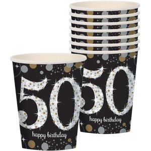 50th Birthday Cups 8ct - Sparkling Celebration