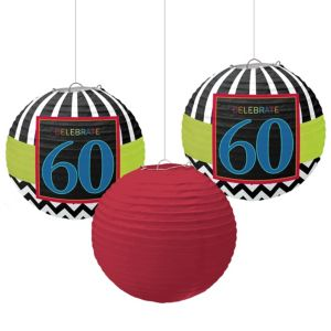 Celebrate 60th Birthday Paper Lanterns 3ct