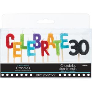 Glitter Celebrate 30 Birthday Toothpick Candle Set 10pc