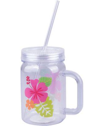 Hibiscus Mason Jar Tumbler