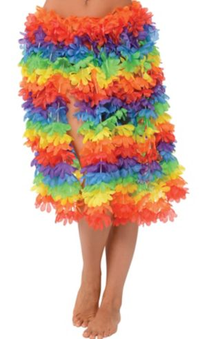 Rainbow Flower Lei Hula Skirt