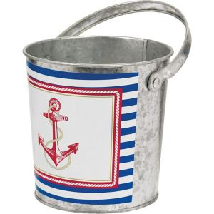Striped Nautical Metal Pail