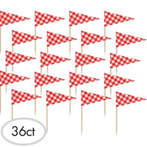 Picnic Party Red Gingham Flag Picks 36ct