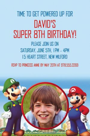 Custom Super Mario Photo Invitation