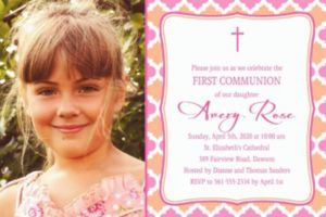 Custom Simple Cross and Diamonds Photo Invitation