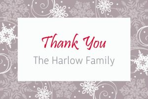 Custom Sparkling Snowflake Thank You Note