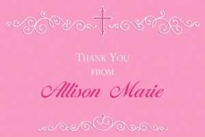 Custom Filigree & Cross Pink Thank You Note