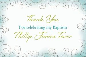 Custom Floral Cross Blue Thank You Note
