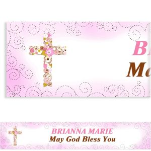 Custom Floral Cross Pink Banner