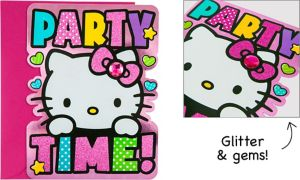 Premium Glitter Hello Kitty Invitations 8ct