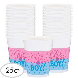 Girl or Boy Gender Reveal Plastic Cups 25ct