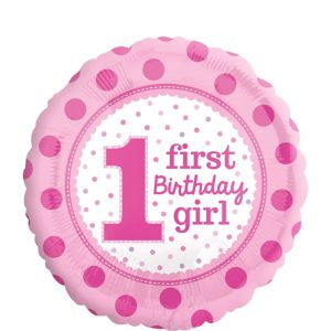 1st Birthday Balloon - Polka Dot Girl