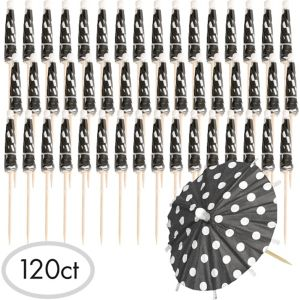 Black Polka Dot Umbrella Picks 120ct