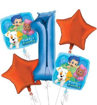 Bubble Guppies 1st Birthday Balloon Bouquet 5pc