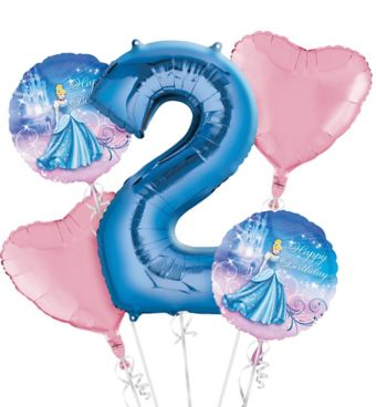 Cinderella 2nd Birthday Balloon Bouquet 5pc