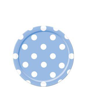 Pastel Blue Polka Dot Dessert Plates 8ct