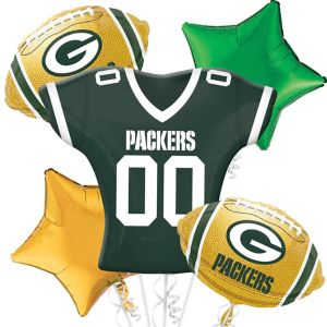 Green Bay Packers Jersey Balloon Bouquet 5pc