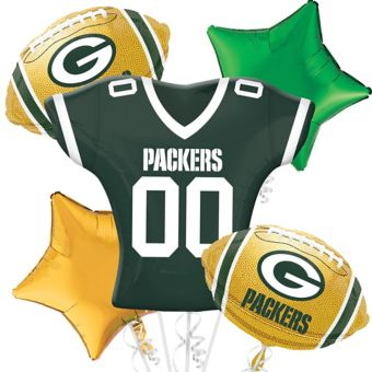 Green Bay Packers Jersey Balloon Bouquet 5pc