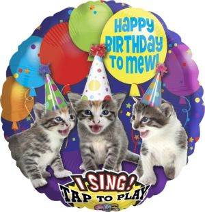 Happy Birthday Kitten Balloon - Singing