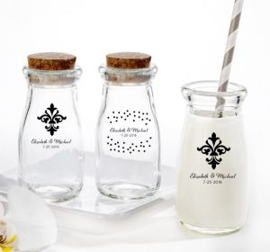 PERSONALIZED Wedding Glass Milk Bottles with Corks (Printed Glass) (Black, Damask & Dots)