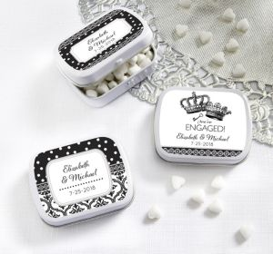 PERSONALIZED Wedding Mint Tins with Candy (Printed Label) (Damask & Dots)