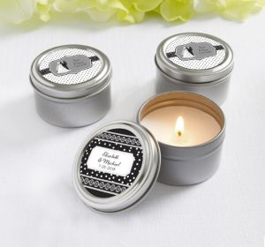 PERSONALIZED Wedding Candle Tins (Printed Label) (Black & White Wedding)
